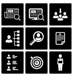 Black job search icon set vector