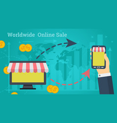 business banner - worldwide online sale vector image