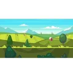 Cartoon nature seamless landscape with houses vector image
