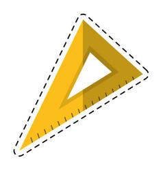 cartoon triangle ruler utensil icon vector image