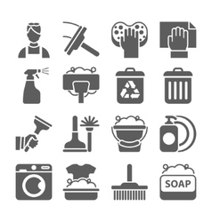 Cleaning icon set isolated with windows dishes vector image vector image
