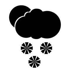 Cloud with snowflakes and sun icon simple style vector image