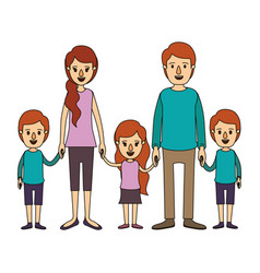 Color image caricature family with young parents vector