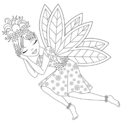 Cute fairy in dress with wings is sleeping vector