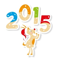 cute goat with 2015 number vector image vector image