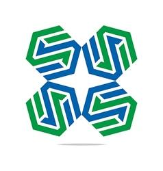 design icon letter s hexagon zigzag symbol vector image