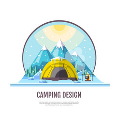 flat style design of winter mountains and camping vector image vector image