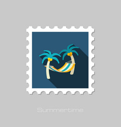 hammock with palm trees on beach stamp vacation vector image vector image