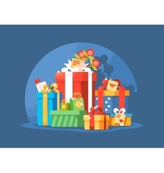 Heap of gift boxes vector