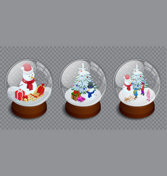 Isometric set of merry christmas glass ball vector