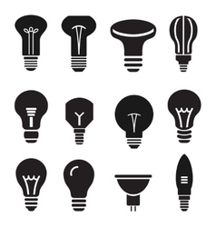 Light bulb set icons on white background vector image vector image