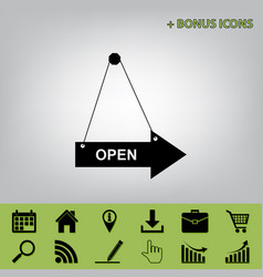 Open sign black icon at gray vector