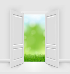 Opened doors with blue sky and greeen grass vector