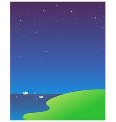 paper boat blue sky vector image