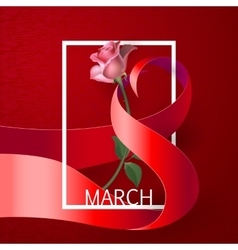 Ribbon March 8 greeting card vector image vector image
