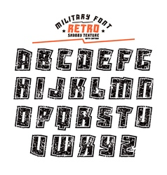 Sans serif geometric military font vector