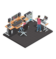 sound engineer isometric workplace vector image vector image