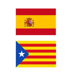 spain and catalonia flags vector image