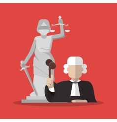 Statue and judge of law and justice design vector