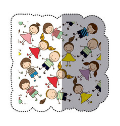 Sticker colorful pattern children decorative vector