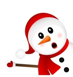 Surprised snowman on a white background looks vector