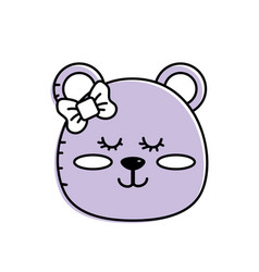 teddy bear girl head animal wild vector image