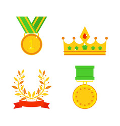 trophy champion cup flat icon winner gold vector image vector image