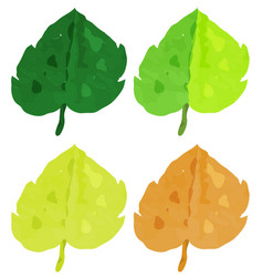 Watercolor painting for leaves in different vector
