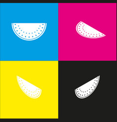 Watermelon sign white icon with isometric vector