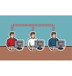 Network of computer men vector
