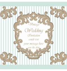Wedding invitation card with classic ornaments vector