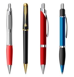 Realistic ballpoint pen set vector image