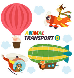set of isolated air transports with animals vector image