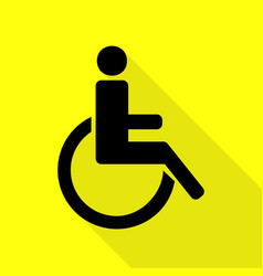 Disabled sign  black icon with flat vector