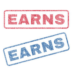 Earns textile stamps vector