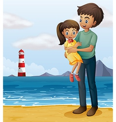 A father and a daughter at the beach vector