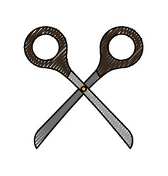 cute scribble scissors cartoon vector image