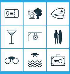Travel icons set collection of surf-board ranch vector