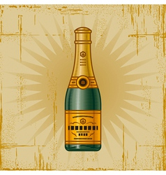 Retro champagne bottle vector