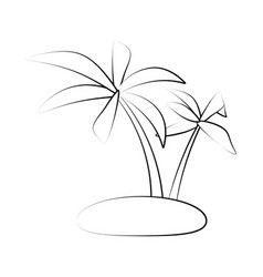 tropical island with palm trees icon image vector image