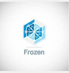 frozen ice flower logo vector image