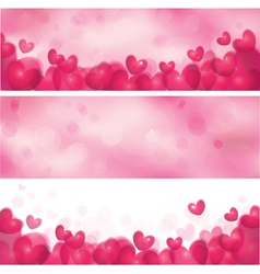 Pink heart banners vector