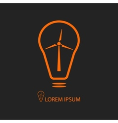 Orange bulb with wind turbine on black vector