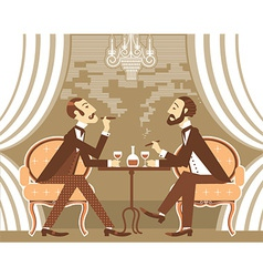 gentlemen in tobacco smoke in club vector image