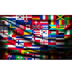 Big flag background made of world country flags vector image