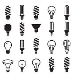 Light bulb and cfl lamp set icons vector