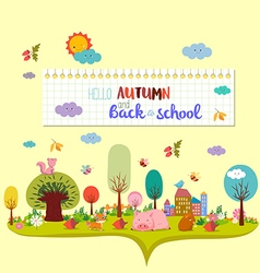 Hello autumn and back to school autumn banner vector