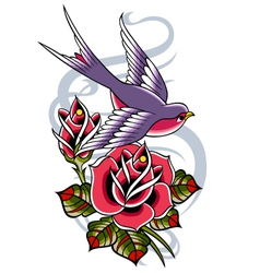 Rose and swallow greeting design vector
