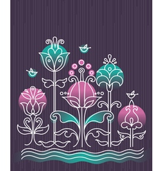 cartoon background with flowers and birds vector image