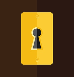 Keyhole in wooden door vector image